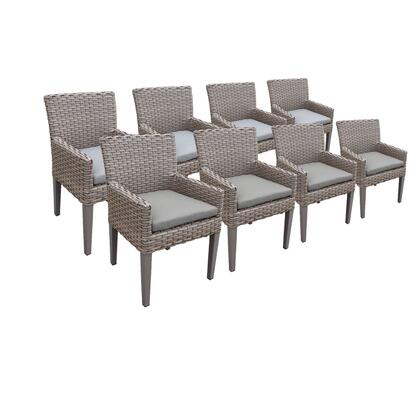TKC297b-DC-4x-C-GREY 8 Oasis Dining Chairs With Arms with 2 Covers: Grey and
