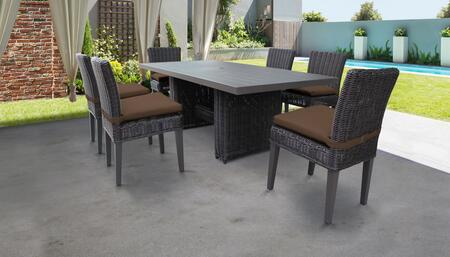Venice Collection VENICE-DTREC-KIT-6C-COCOA Patio Dining Set With 1 Table  6 Side Chairs - Wheat and Cocoa