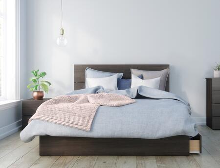 402052 Alaska 3 Piece Queen Size Bedroom Set with Storage Platform Bed + Headboard + Nightstand  in Ebony
