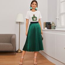 Pearls Detail Bottle Print Top & Pleated Satin Skirt Set