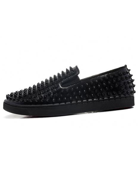 Milanoo Platform Men's Black Loafers Slip On Spike Shoes