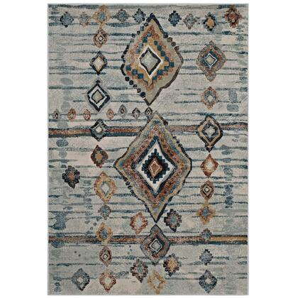 Jenica Collection R-1109A-810 Distressed Moroccan Tribal Abstract Diamond 8x10 Area Rug in Silver Blue  Beige and Brown
