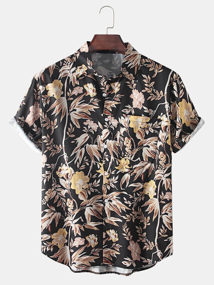 Mens Retro Vintage Flower Print Casual Breathable Short Sleeve Shirts