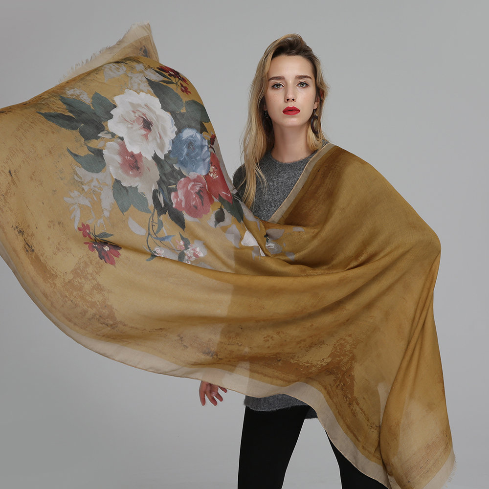 Women Ink Printing Cotton Linen Blend Long Scarf Casual Travel Warm Ethnic Scarves Shawls