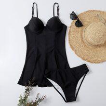 Bañador bikini con aro bajo fruncido