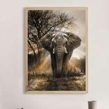 Pintura de diamante DIY con patron elefante sin marco