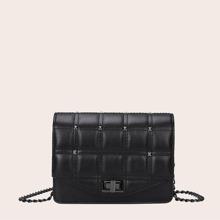 Studded Decor Turn-Lock Chain Bag