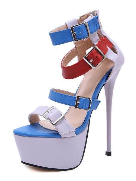 """Milanoo Sandalias sexy de plataforma Color Block 6.7 """"zapatos de correa de tobillo con tacon de aguja con hebillas"""