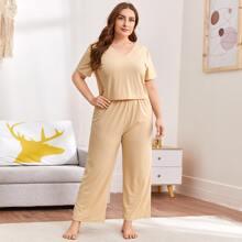 Schlafanzug Set mit V-Kragen