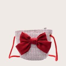 Girls Bow Decor Tweed Crossbody Bag