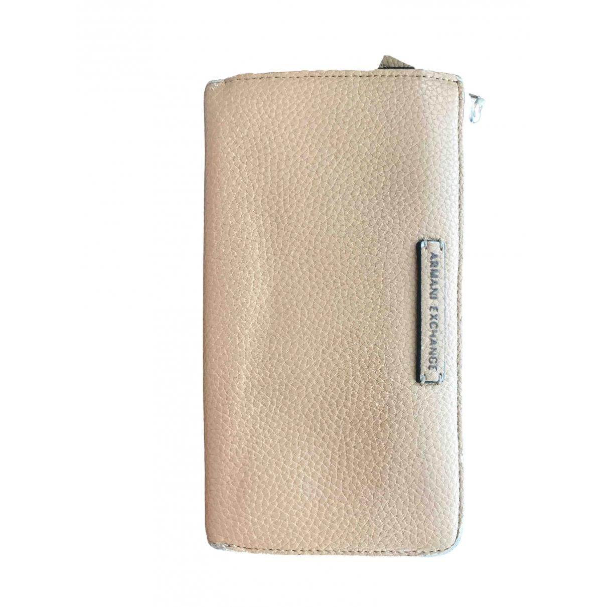 Emporio Armani - Portefeuille   pour femme en cuir - beige