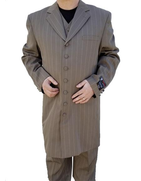 Men's Dark Tan Button Closure Windowpane ~ Plaid Pattern Zoot Suit
