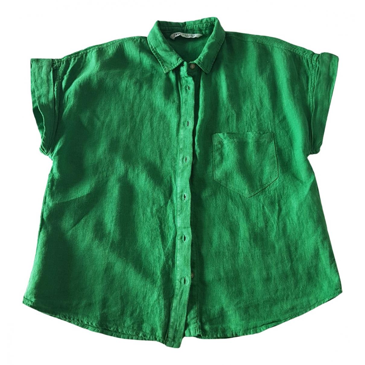 Zara \N Green Linen  top for Women M International