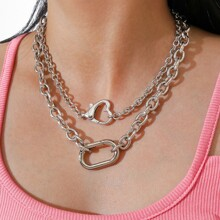 2pcs Heart Decor Chain Necklace