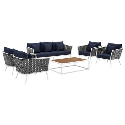 Stance Collection EEI-3168-WHI-NAV-SET 6 PC Outdoor Patio Aluminum Sectional Sofa Set in White Navy