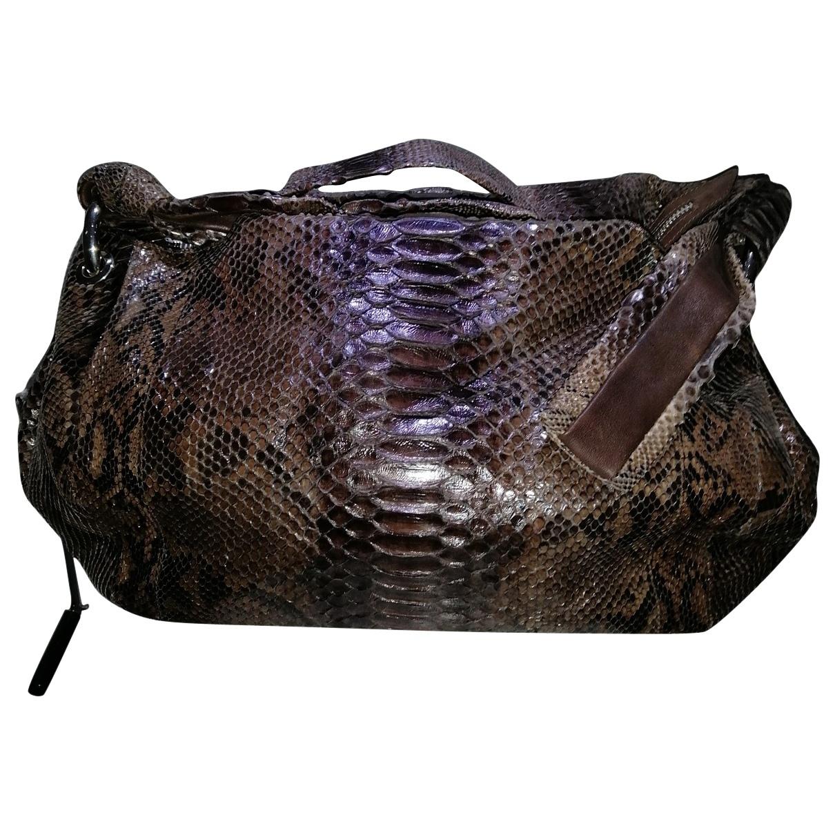 Ghibli \N Brown Python handbag for Women \N