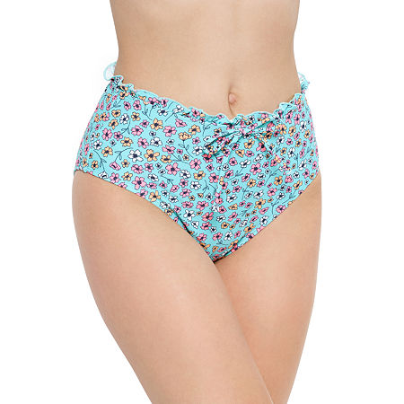 Arizona Floral High Waist Bikini Swimsuit Bottom Juniors, Small , Blue