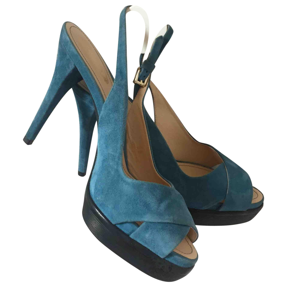 Tod's - Sandales   pour femme en suede - turquoise