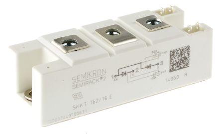 Semikron , SKKT 162/16 E, Dual Thyristor Module SCR, 156A 1600V, 7-Pin Semipack2