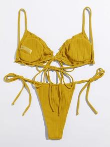 Rib Frill Trim Tie Side Bikini Swimsuit