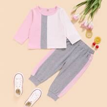 Baby Girl Colorblock Tee With Sweatpants