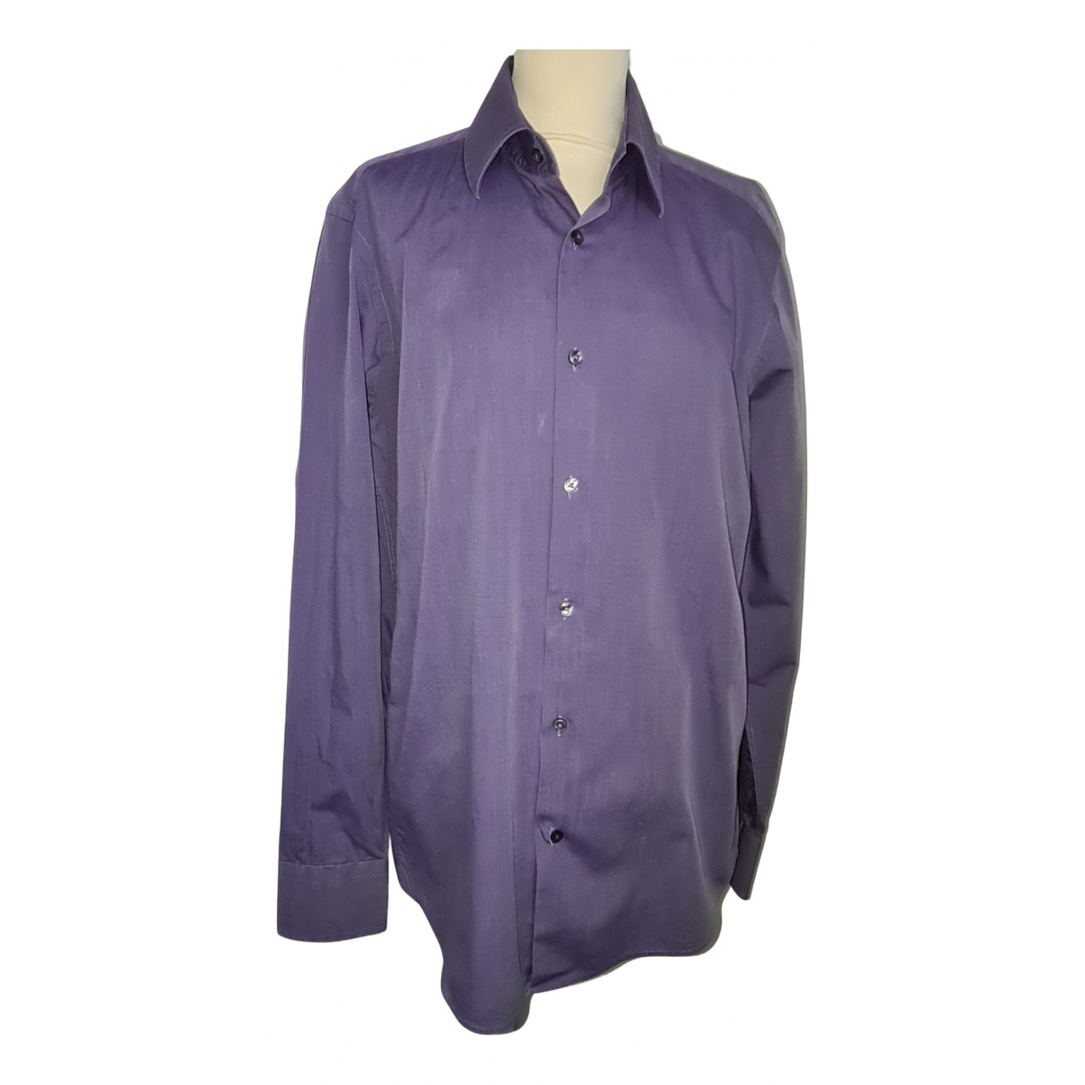 Boss N Purple Cotton Shirts for Men 40 EU (tour de cou / collar)