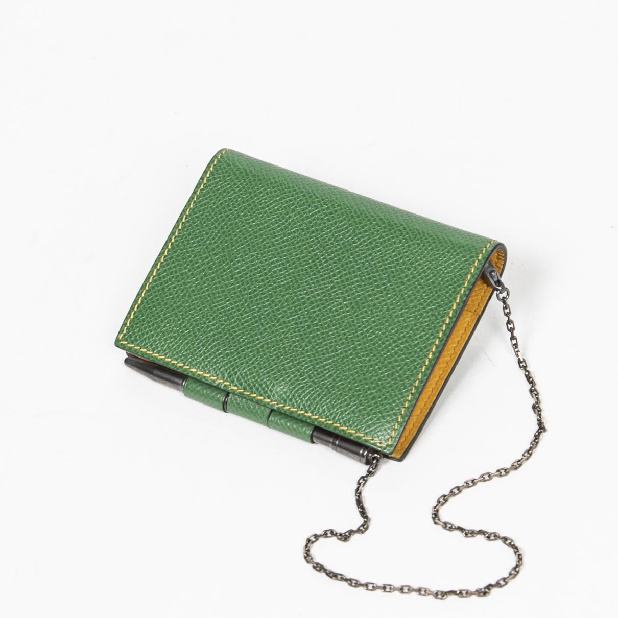 Hermes \N Portemonnaie in  Gruen Leder