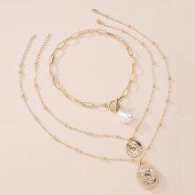 3pcs Faux Pearl Coin Decor Necklace