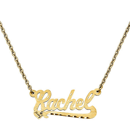 Personalized 15x33mm Diamond-Cut Scroll Name Necklace, One Size , Yellow
