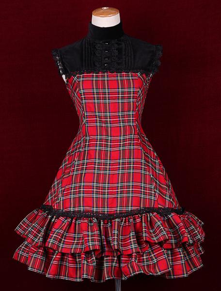 Milanoo Vestido de Lolita de algodon con volante fruncido