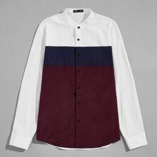 Camisa de color combinado con boton