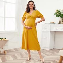 Maternidad vestido unicolor girante delantero