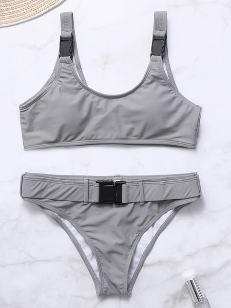 Yoins Grey Scoop Neck Sleeveless Big Buckle Bikini