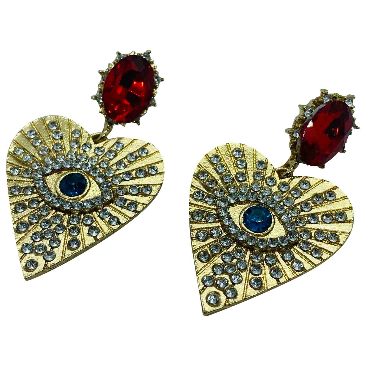 Non Signé / Unsigned Art Déco Multicolour Metal Earrings for Women N