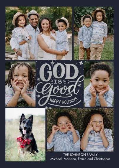 Christmas Photo Cards 5x7 Cards, Premium Cardstock 120lb with Rounded Corners, Card & Stationery -Christmas Snapshots God is Good by Tumbalina