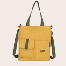 Pocket Front Canvas Tote Bag