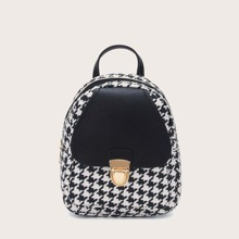 Push Lock Houndstooth Backpack