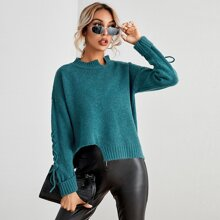 Stand Collar Lace Up Asymmetrical Hem Sweater