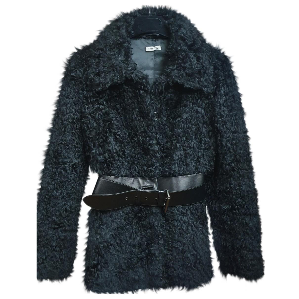 Miu Miu \N Black Wool coat for Women 40 IT