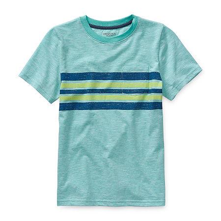Arizona Little & Big Boys Crew Neck Short Sleeve T-Shirt, Xx-small (4-5) , Green