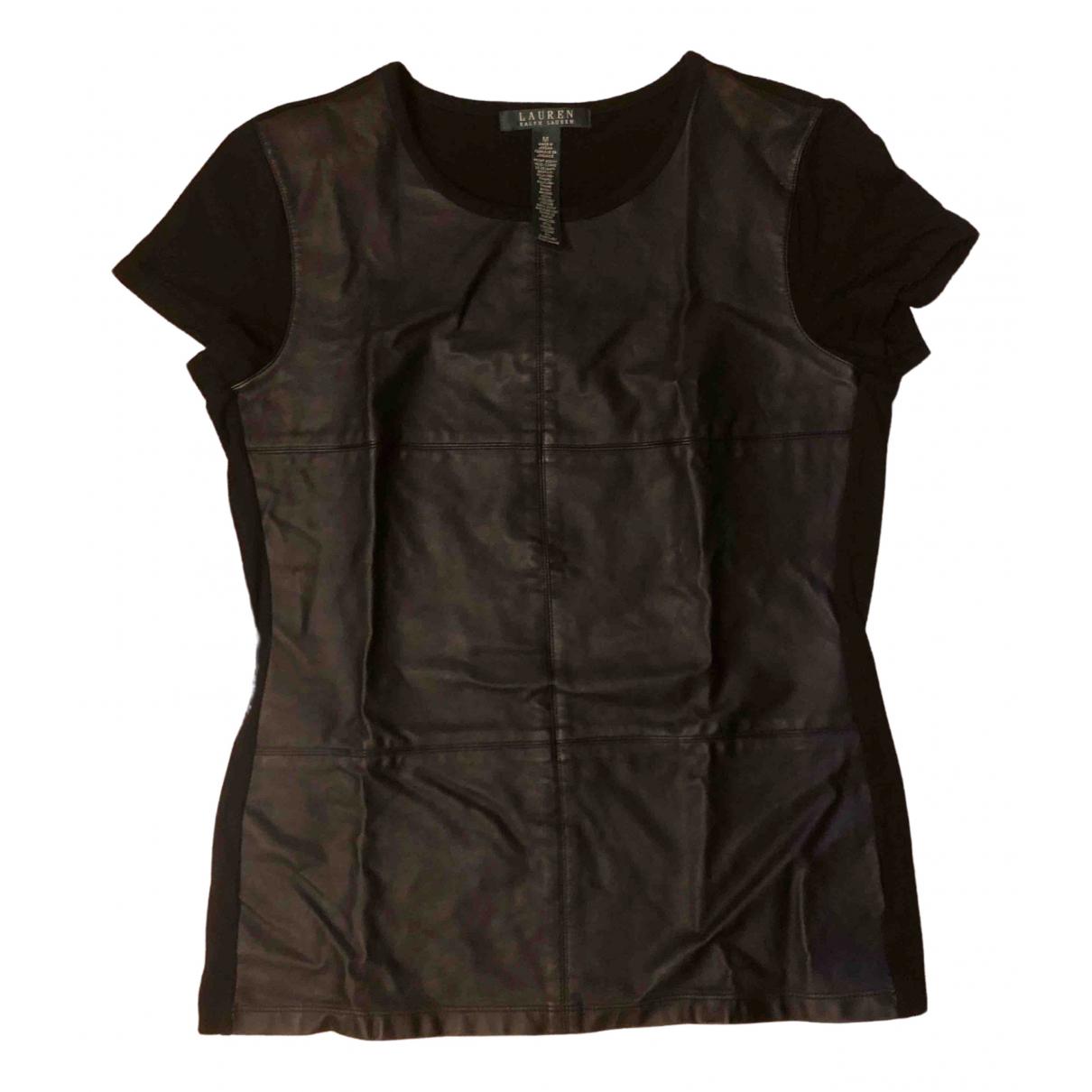 Lauren Ralph Lauren - Top   pour femme en cuir verni - noir