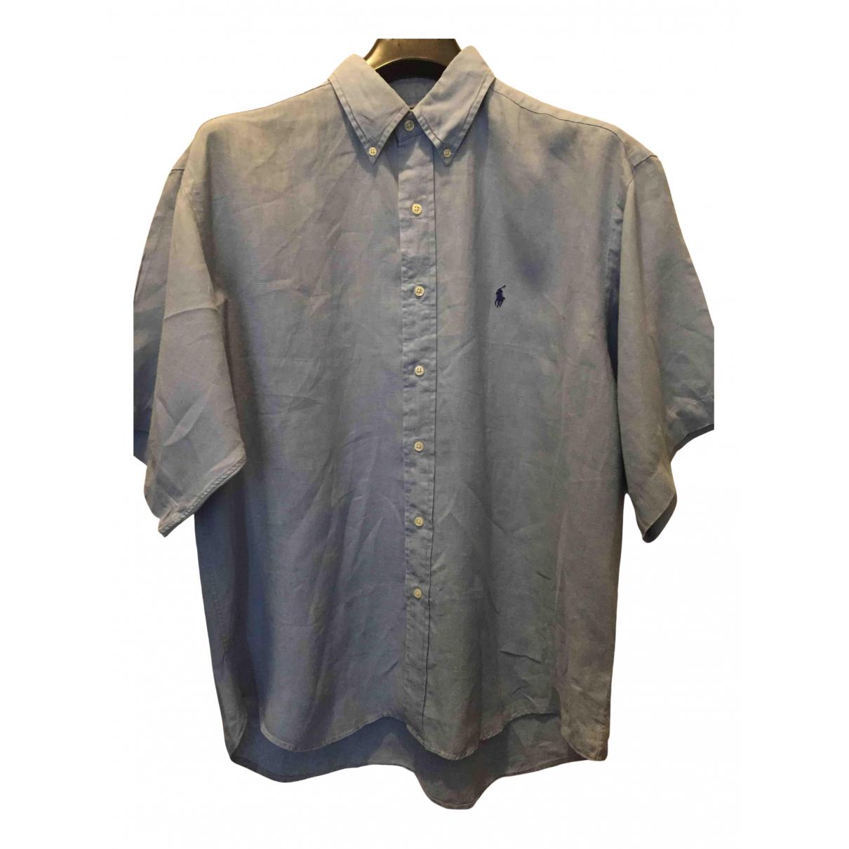 Polo Ralph Lauren - Chemises Polo ajuste manches courtes pour homme en lin - bleu