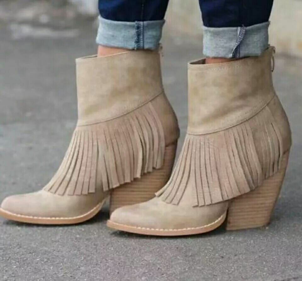 Plus Size Tassal Decoration PU Slip Resistant Warm Increase Height Ankle Boots