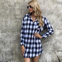 Hemd Kleid mit Karo Muster und Knopfen