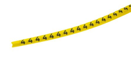 HellermannTyton Helagrip Slide On Cable Marker, Pre-printed 4 Black on Yellow 1 → 3mm Dia. Range