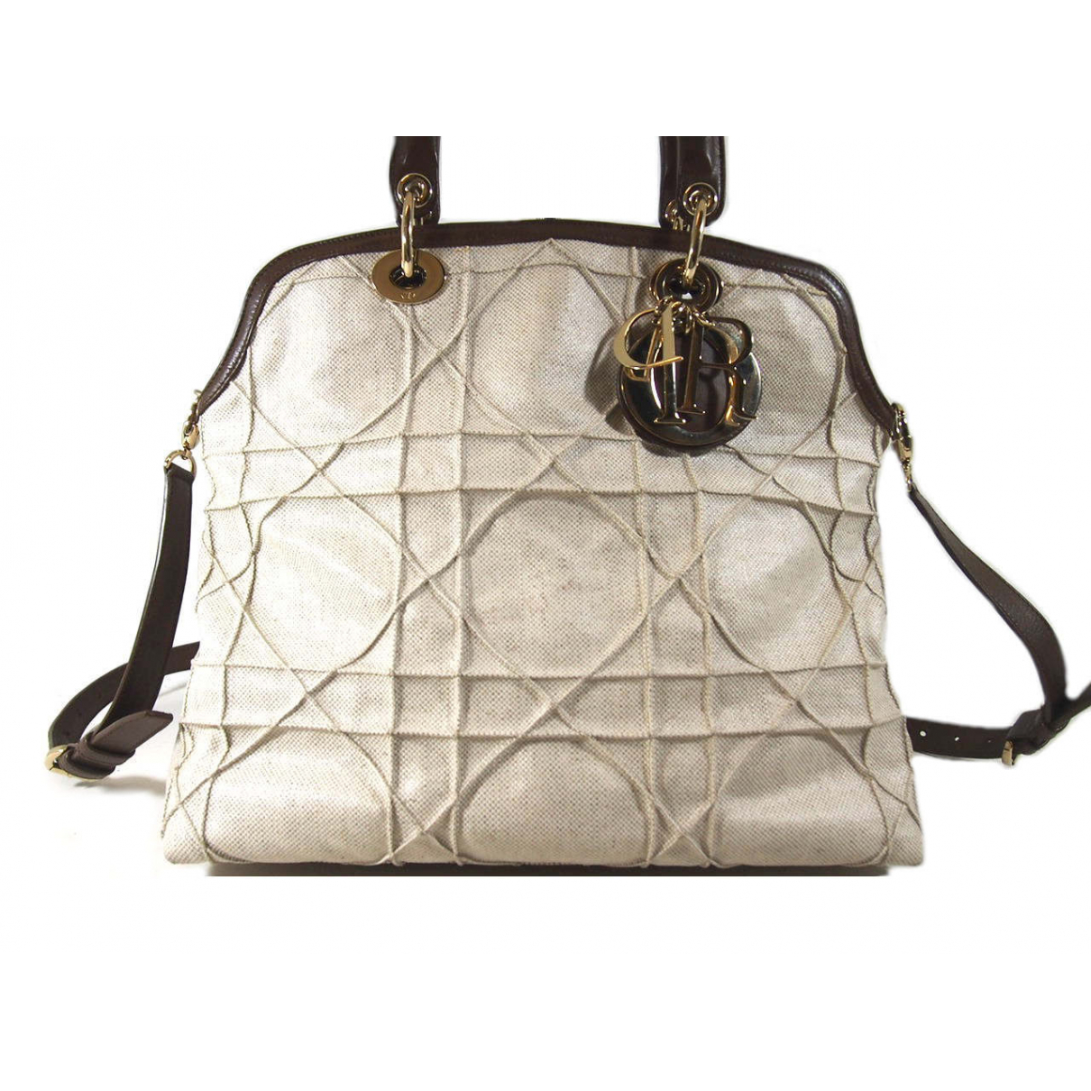 Dior Granville Handtasche in  Weiss Leinen