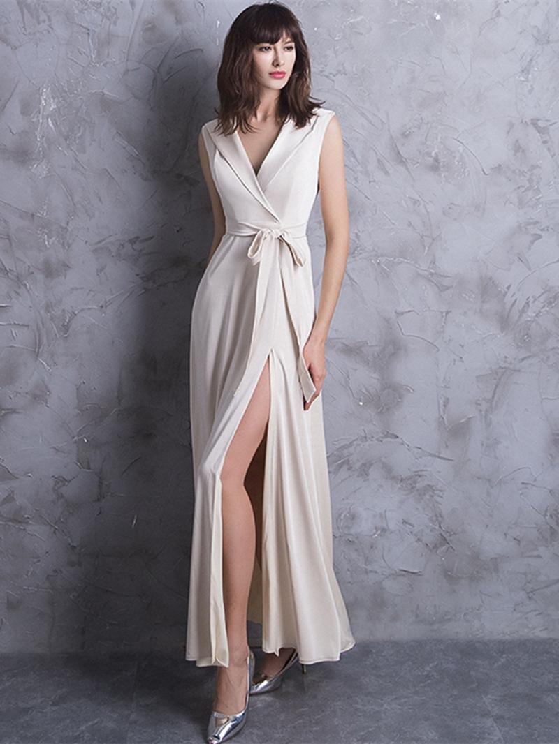 Ericdress Bowknot V-Neck Split-Front A-Line Evening Dress