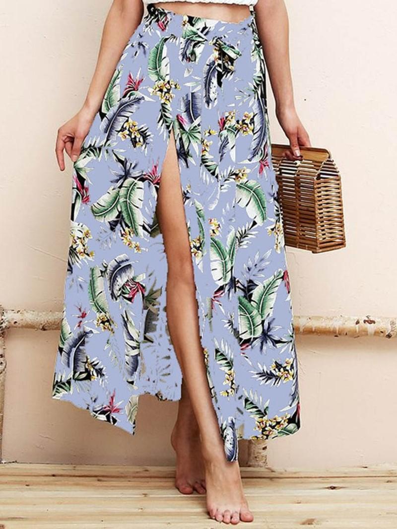 Ericdress Print Split Floral Casual Mid-Waist Skirt