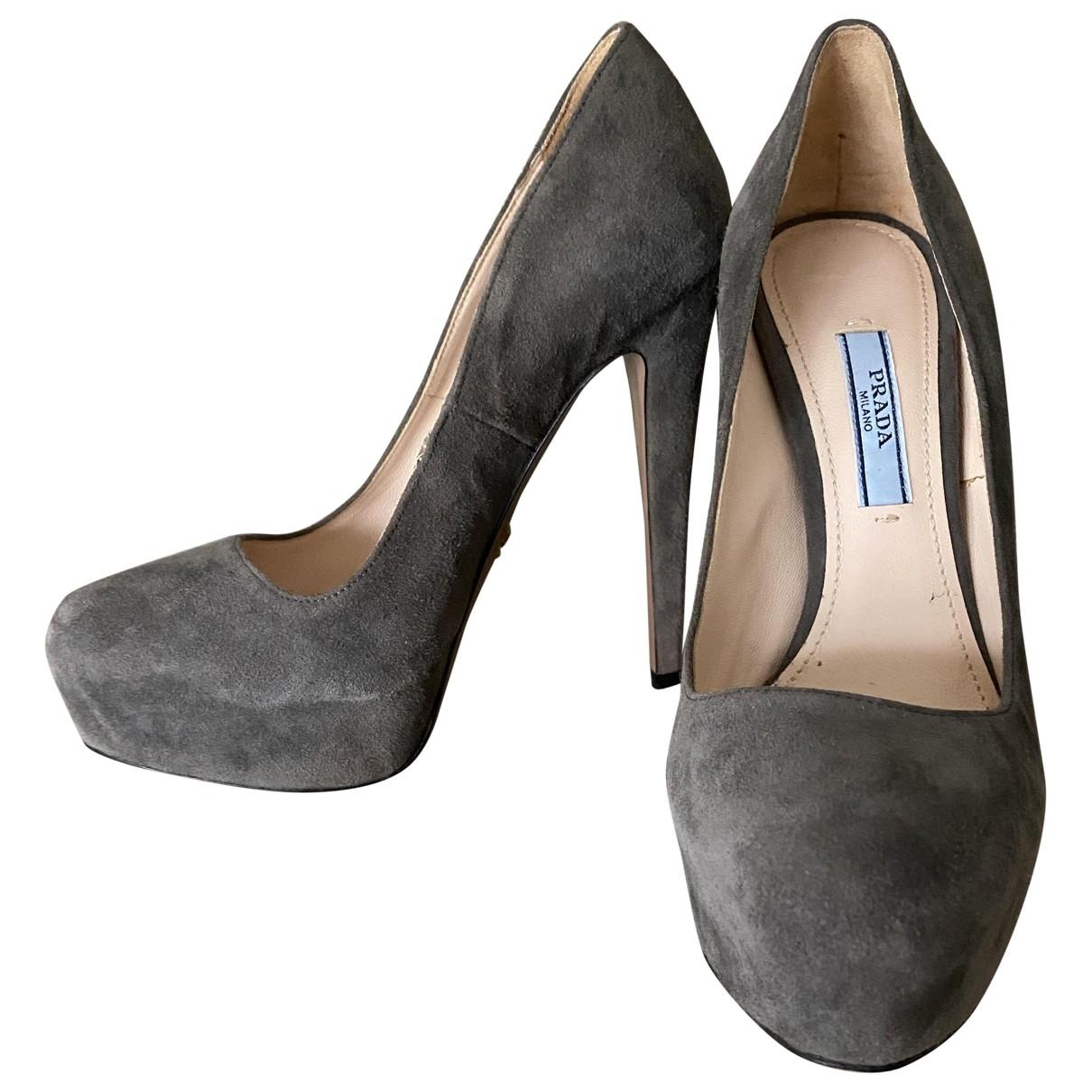 Prada \N Grey Suede Heels for Women 36.5 EU