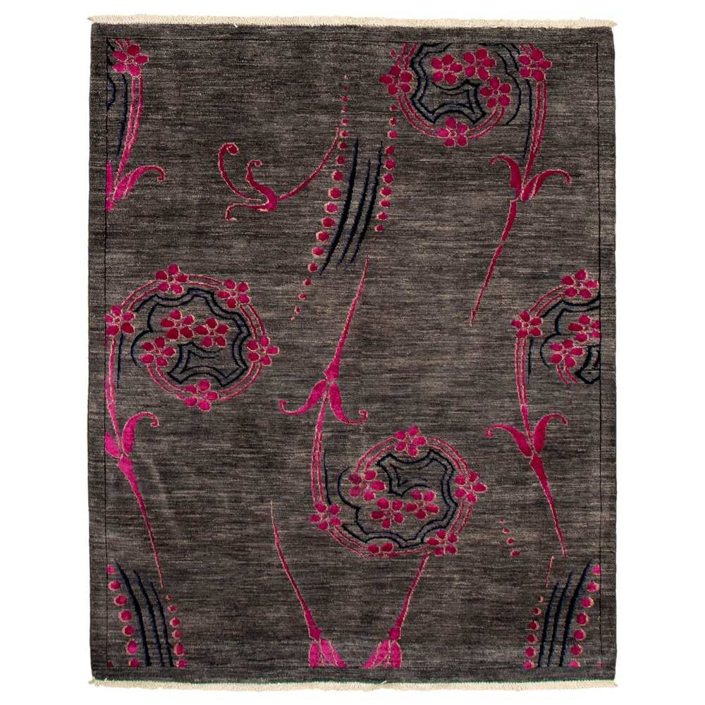 ECARPETGALLERY  Hand-knotted Pak Finest Transitional Grey Wool Rug - 4'8 x 6'0 (4'8 x 6'0 - Dark Grey)